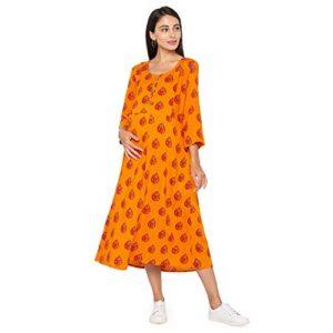 MomToBe Women's Rayon Maternity Dress/Pregnancy Dress/Easy Breast Feeding/Breastfeeding Dress/Western Dress with Zippers for Nursing Pre and Post Pregnancy
