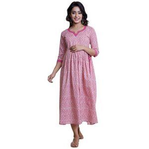 ANAYNA Women's Anarkali Midi Maternity Dress (HSSANYLDM05A2018-L, Pink, Large)