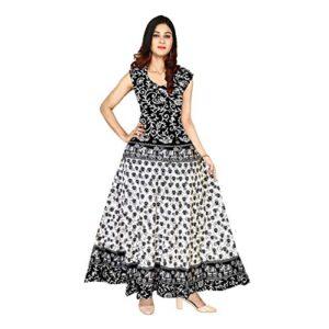 FrionKandy Women's A-Line Cotton Long Jaipuri Print Maxi Gown Dress (Free Size Upto 44 Inch XXL, Black)