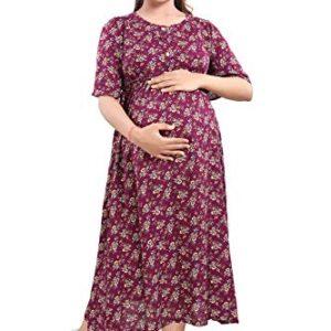 Mamma's Maternity Printed Rayon Maternity/Feeding Dress