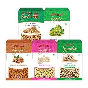 Nutraj Signature Daily Needs Dry Fruits Combo Pack 1 Kg (Almonds Plain 200g, California Walnuts 200g, R&S Pistachios 200g, Plain Cashews 200g, Raisins 200g)