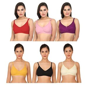XCare Women's Cotton Non Padded Non-Wired Push-Up Bra (Pack of 6)